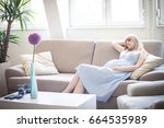 young pregnant woman enjoy in... | Shutterstock . vector #664535989