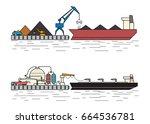 industrial ships. dry cargo... | Shutterstock .eps vector #664536781