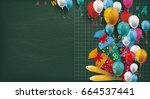 long blackboard with colored... | Shutterstock .eps vector #664537441