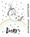 magic cute unicorn on the...   Shutterstock .eps vector #664537834