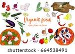 hand drawn organic food... | Shutterstock .eps vector #664538491