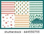 set of vector doodle patterns.... | Shutterstock .eps vector #664550755