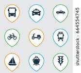 transport icons set. collection ... | Shutterstock .eps vector #664554745