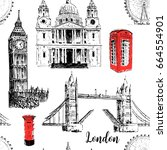 london architectural symbols ... | Shutterstock .eps vector #664554901
