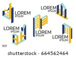 isometric logo set.construction ... | Shutterstock .eps vector #664562464
