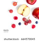 creative layout made of apple ... | Shutterstock . vector #664570045