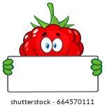 smiling raspberry fruit cartoon ... | Shutterstock .eps vector #664570111