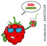 raspberry fruit cartoon... | Shutterstock .eps vector #664570129