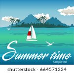 tropical island with palms. sea ...   Shutterstock .eps vector #664571224