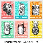 set colorful healthy food... | Shutterstock .eps vector #664571275