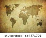 grunge map of the world   Shutterstock . vector #664571701