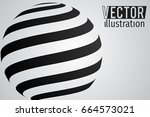 sphere with black ornament and... | Shutterstock .eps vector #664573021
