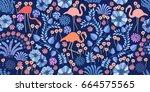 tropical night garden. seamless ... | Shutterstock .eps vector #664575565