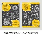 coffee shop brochure flyer...   Shutterstock .eps vector #664580494
