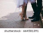feet newlyweds | Shutterstock . vector #664581391