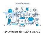 remote working  freelancer ... | Shutterstock .eps vector #664588717