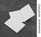 leaflet or brochure or greeting ... | Shutterstock . vector #664593421