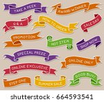 hand drawn ribbon banners set... | Shutterstock .eps vector #664593541