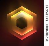 techno glowing glass hexagons... | Shutterstock .eps vector #664593769