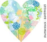 dandelion heart   Shutterstock .eps vector #664594165