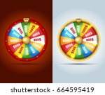 realistic 3d spinning fortune... | Shutterstock .eps vector #664595419