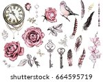 Stock photo watercolor set with a finch pink roses keys clock feathers jewelry berry and herbs flowers 664595719