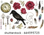 Stock photo large watercolor gothic set with a crow red roses keys feathers clock jewelry flowers and a 664595725