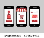 online shopping  red shop icon... | Shutterstock .eps vector #664595911