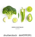 creative layout made of avocado ... | Shutterstock . vector #664599391