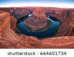 beautiful sunrise at horseshoe... | Shutterstock . vector #664601734
