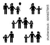 stick figure family icon set.... | Shutterstock . vector #664607845