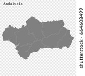 high quality map of andalusia... | Shutterstock .eps vector #664608499