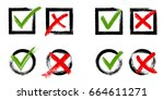 tick and cross test signs set ... | Shutterstock .eps vector #664611271