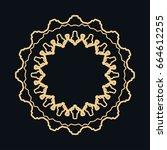 golden round ornament  frame ... | Shutterstock .eps vector #664612255