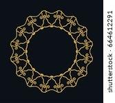 golden round ornament  frame ... | Shutterstock .eps vector #664612291