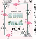 summer pool party poster.... | Shutterstock .eps vector #664619824
