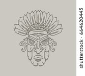 native american   outline... | Shutterstock .eps vector #664620445
