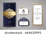 set of wedding invitation... | Shutterstock .eps vector #664620991