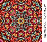 vector abstract ethnic seamless ... | Shutterstock .eps vector #664625959