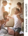 family spending free time at... | Shutterstock . vector #664626805