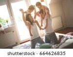 family spending free time at... | Shutterstock . vector #664626835
