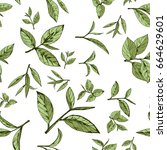 seamless pattern green tea ... | Shutterstock .eps vector #664629601