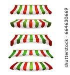 italian striped awnings for... | Shutterstock .eps vector #664630669