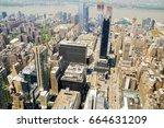 new york city  bird eye view... | Shutterstock . vector #664631209
