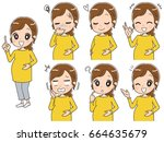 a collection of pregnant women... | Shutterstock .eps vector #664635679