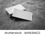 Pile Of Business Cards On Grey...