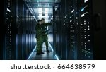 In Data Center Two Military Me...
