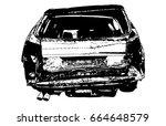 rear car accident vector... | Shutterstock .eps vector #664648579