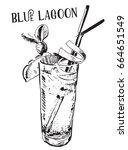 vector image of summer cocktail ... | Shutterstock .eps vector #664651549