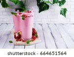 smoothies with pomegranate... | Shutterstock . vector #664651564